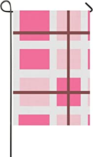 Home Decorative Outdoor Double Sided Fabric Pink Burgundy White Checkered Color Blocks Garden Flag,house Yard Flag,garden Yard Decorations,seasonal Welcome Outdoor Flag 12 X 18 Inch Spring Summer Gift