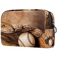 トラベルメイクアップバッグ女性用小化粧バッグ大容量ポータブルジッパーポーチビンテージ野球 財布の日常使用のため
