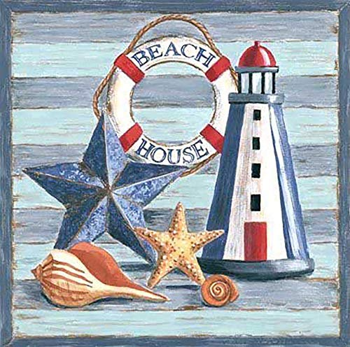 Palodio 5D Diamond Painting Kits Starfish Shell, Paint with Diamonds Art Beach Lighthouse Paint by Numbers Full Round Drill Cross Stitch Crystal Rhinestone Home Wall Decoration 14x14 inch