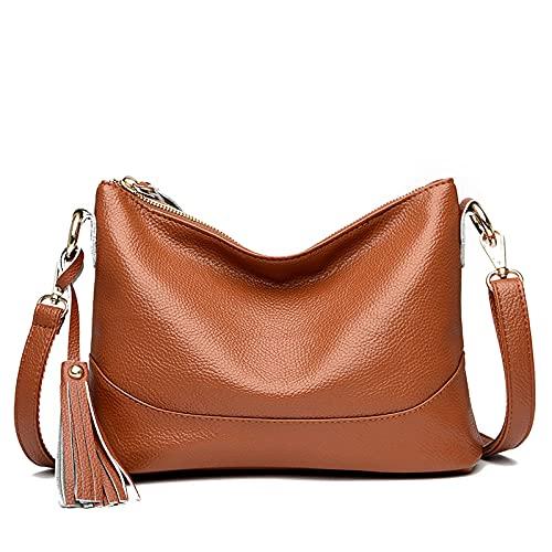 XZJY Bolso de hombro de cuero genuino para mujer, bolsos de mano de marca de lujo, bolsos cruzados para mujer, bolsos y carteras de marcas famosas para mujer
