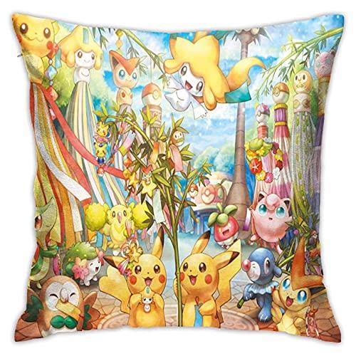 Housse de coussin Pokémon - 45 x 45 cm - En coton et lin - Décoration créative - Pour le salon, le jardin, le canapé