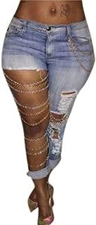 GARMOY Women's Light Blue Metal Chain Mid Rise Skinny Distressed Holes Denim Jeans