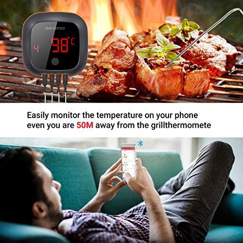 Inkbird IBT-4XS Bluetooth Termometro Cucina Digitale Termometri da Carne Accurato con Base Magnetica & Schermo di Lettura Rotativo per Barbecue, Cucina, Forno, Carne (IBT-4XS + 4 sonda)