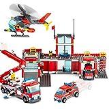 QLT City Fire Station Building Kit Stem Toys,744 Pcs Fire...