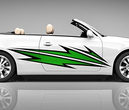 2x Seitendekor 3D Autoaufkleber Blitze grün Digitaldruck Seite Auto Tuning bunt Aufkleber Seitenstreifen Airbrush Racing Autofolie Car Wrapping Tribal Seitentribal CW152, Größe Seiten LxB:ca. 160x40cm