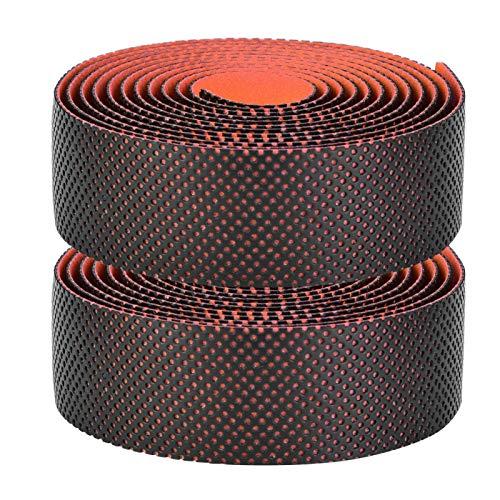 Wosune Cinta de dirección de Bicicleta, cinturón de Manillar de Bicicleta, absorción de Sudor de 4 Colores para Bicicletas de montaña, Bicicletas(Black Orange)