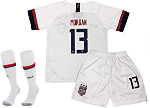 ZIJIW Morgan 13 Alex Home Soccer T Shirt for Youth & Kids with Shorts & Socks Set White
