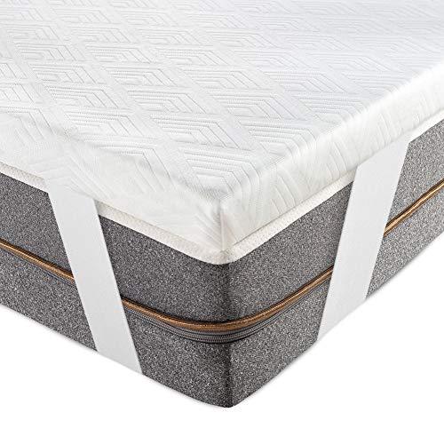 BedStory [Infusión de Té Verde Natural Topper Colchón 135x190x5cm con Infusión de Té Verde Natural, Anti-ácaros y Transpirable, Sobrecolchón Viscoelastico con Cubierta Desmontable y Lavable