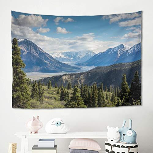 Gamoii Tapiz de pared con paisaje bosque, árboles, colinas y montañas, manta de pícnic, toalla de playa, esterilla de yoga, lavable a máquina, decoración del hogar, funda blanca 150 x 150 cm