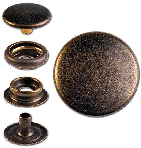 Hoppe & Masztalerz 15 Ringfeder-Druckknöpfe F3 15.5mm aus Messing (nickelfrei), Finish: messing-antik, Verschlusskraft: leicht