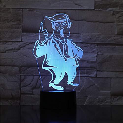 3D Nachtlicht Illusion Lampe LED Kinder Präsident der Vereinigten Staaten Deko Licht Stimmungslicht Fernbedienung Nachttischlampe 7 Farben ändern Touch Switch Schreibtisch Lampen Geburtstagsgeschenk