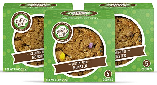The Naked Baker Gluten Free Cookies, Soft Baked Monster cookies, THREE 5 -cookie packages.