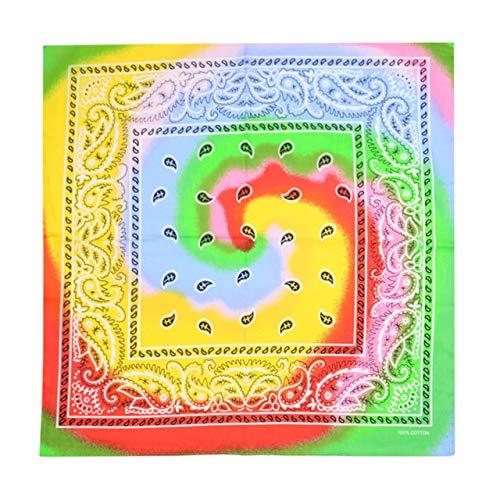 Yener katoenen tie-dye bandana hoofdwraps regenboog sjaal hiphop street dance nek polsband, vortex geel, one size