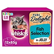 Whiskas Pure Delight Fish Selection in Jelly Kitten 2-12 Months Wet Cat Food, 12 x 85 g