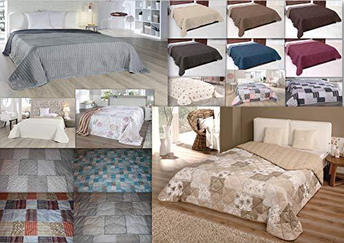 MB Warenhandel24 Tagesdecke XXL Allzweckdecke ca. 220x240 Patchwork Landhaus Sofa Bettüberwurf (Anthrazit mit Rautensteppung)