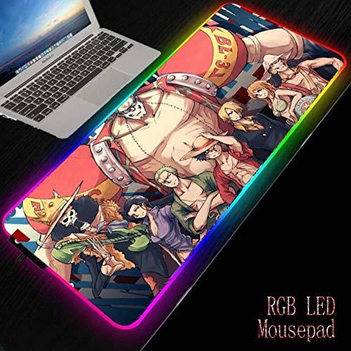 Alfombrilla de ratón LED RGB Grande para Chicas de Anime, Alfombrilla de ratón para Juegos con iluminación con Cable USB para Ordenador portátil, Alfombrilla de Escritorio, Color 2 XL (30x80cm)