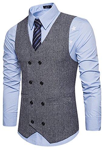 WHATLEES WHATLEES Herren Schmale Tweed Weste mit zweireihige Knopfleiste , B729-gray , M