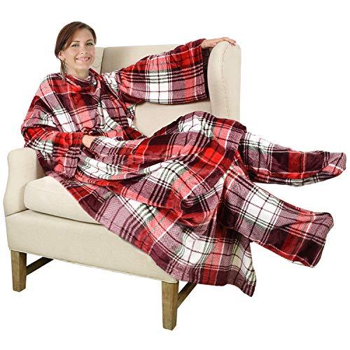 Catalonia TV-Decke Kuscheldecke mit Ärmel und Füßen, Profikuschel Ganzkörper Snuggle Decke zum Anziehen Winter Wolldecke für Erwachsene Frauen und Männer für Geschenk, 190 x 135 cm, Rot Plaid