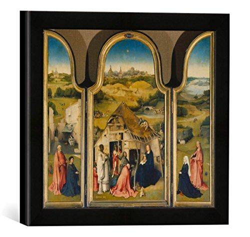 Gerahmtes Bild von Hieronymus Bosch Epiphanie-Triptychon, Kunstdruck im hochwertigen handgefertigten Bilder-Rahmen, 30x30 cm, Schwarz matt