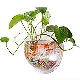 Yooyoo creative acrilico appeso a parete Fish Tank Bowl acquario pianta vaso ciotola Bubble acquario Decor, Poliresina, Clear, 7.7 inches