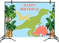 新しい7x5ftかわいい漫画の恐竜の背景子供のための子供の誕生日おめでとう写真の背景トロピカルパームベビーシャワーの写真の背景カスタマイズされた写真撮影スタジオの小道具