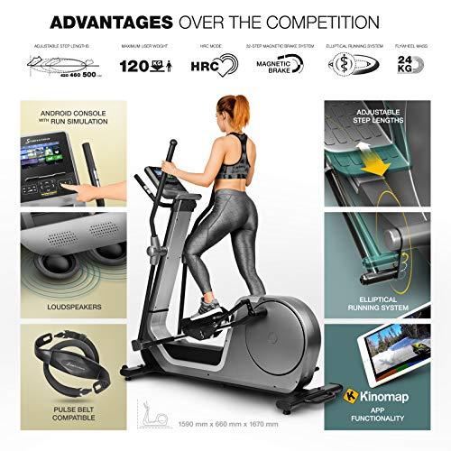 Sportstech LCX800 Luxury Cross Trainer with noble Android Multifunction Console, 24kg Flywheel Mass, Smartphone App, Bluetooth & Pulse Belt Compatible, 12 Training Programs + Tablet holder