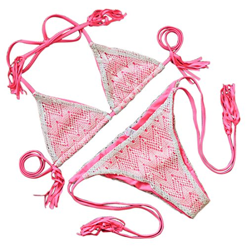 JIANLANPTT Sexy Crochet Net Yarn Tassel Tether Bikini Set 2Pcs Women Swimwear Swimuits Water Red M