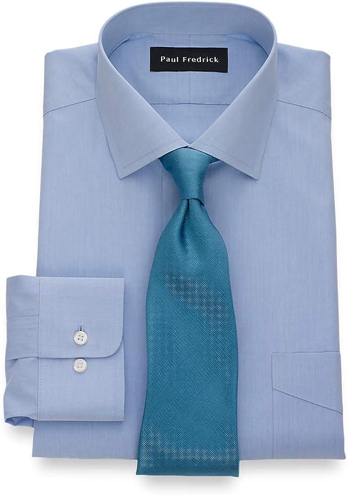 Paul Fredrick Men's Tailored Fit Non-Iron Cotton Broadcloth Cotton Dress Shirt