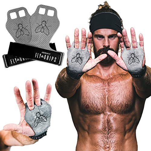 JerkFit Fly Grips, Hand Grips for Cross Training, Soft Vegan Lightweight Weight Lifting Gloves with Grip for Pull Ups, Powerlifting, Gymnastics, and WOD, Prevent Rips and Blisters (Large)