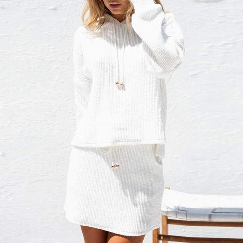 NPRADLA Sweatshirt + Rock Zwei Stücke Eingestellt Damen Frauen Sommer Elegante Langarm Einfarbig Mit Kapuze Taschen Weiß