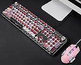 DKee Teclados Teclado Rosa Lindo Llave Mecánica Mouse Set De Juego Y Ratón Rosado Corazón Niña Notas del Juego (Color : Black)