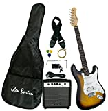 Glen Burton GE101BCO-TS Electric Guitar Stratocaster-Style Combo with Accessories and Amplifier, Tobaccoburst