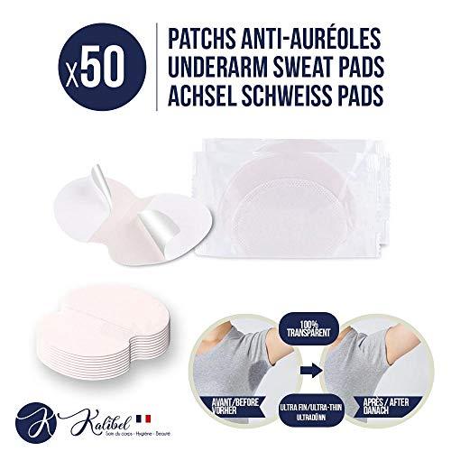 Kalibel - Coussinet anti Auréoles, 50 Patchs Anti Transpiration - Jetable, Invisible et Confortable - Patch Protège Aisselles Femmes et Hommes (Combat Hyperhidrose et Traces de sueur sous les bras)