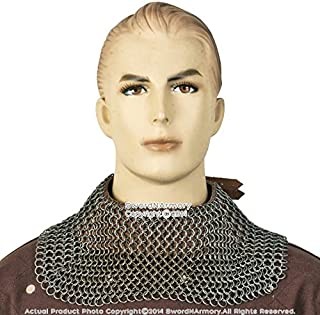 Large Size Medieval Chainmail the Starndard Aventail Neck Protector 16G 9mm Ring