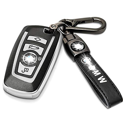 Intermerge for BMW Key Fob Cover with Leather Keychain,Premium Soft TPU Key Case Cover Compatible with BMW 1 3 4 5 6 7 Series and BMW X3 X4 M5 M6 GT3 GT5 Keyless Smart Key Fob_Genuine Leather(Silver)