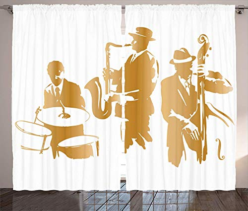 """Music Curtains, Vintage Style Illustration of Jazz Band Playing The Blues Music Home Vibes Art, Living Room Bedroom Window Drapes 2 Panel Set, Sand Brown,110"""" W X 63"""" L"""