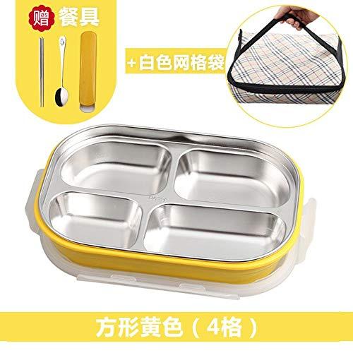 MjxdsbFast food box plastic lunchbox, geel vier vakken, bestek, koeltas