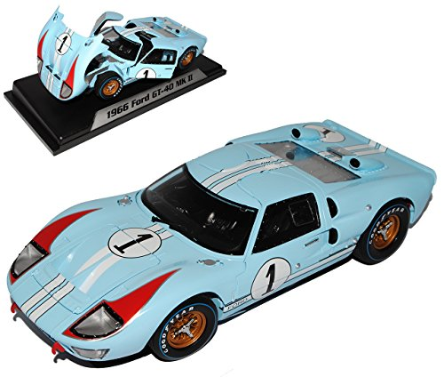 Shelby Ford GT40 MK II 1966 Gulf Blau Nr 1Team America Miles Hulme 1/18 Collectibles Modell Auto