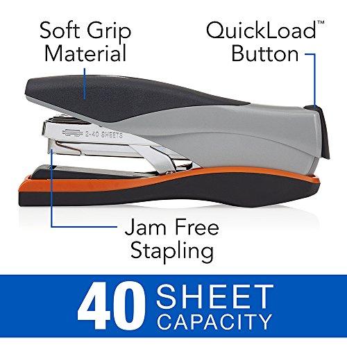 Swingline Stapler, Optima 40, Full Strip, Desktop Stapler, 40 Sheet Capacity, Reduced Effort Stapler for Office Desk Accessories and Home Office Supplies, Orange/Silver/Black, Full Size (87845) Photo #4