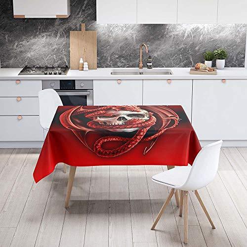 Fansu Antimanchas Mantel para Mesa Rectangular, Impermeable Lavable Poliéster Patrón de Calavera 3D Mantel - Adecuado para Decorar Cocina Comedor Salón (Baloncesto Rojo,100x140cm)