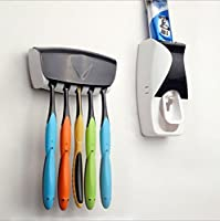 EINFACHSTE BEDIENBARKEIT - Kinderleichtes und praktisches bedienen des Zahnpastaspenders sowie des Zahnbürstenhalters. Beide sind universell einsetzbar und dank der beigefügten Befestigungs-Streifen auch mühelos anzubringen KEINE VERSCHWENDUNG - Habe...