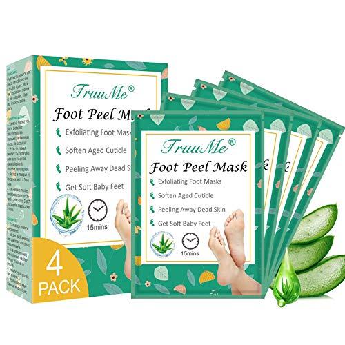 Fußmaske, Fußpeelings Maske, Peeling Socken, Foot Mask, Fuß Hornhautentferner Peeling Socken, Füße glatt und zart wie Samt für Männer Frauen, 4 Paar