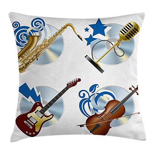 Muziek Gooi Kussen Cover door, Jazz Instruments Saxofoon Gitaar Viool Microfoon Melodie Pictogrammen Grafische Kunst, Decoratieve Vierkante Accent Kussen Case, 18 X 18 Inch, Goud Blauw Bruin