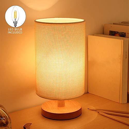 DLLT Modern Tischlampe aus Holz mit Zugschalter & EU-Stecker, 3000k Warmweiß, auf Tisch E27-Fassung, Skandinavisch Nachttischlampe für Schlafzimmer, Geschenk, Wohnzimmer, Esszimmer Eckig, Kinderzimmer