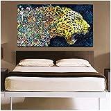 Xynfl Carteles de Leopardo Feroz de Acuarela Abstracta Impresos en Lienzo Arte de Pared Pintura en Lienzo decoración de Pared para Sala de Estar 60x100cmx1 sin Marco