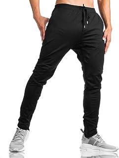 LY4U Pantalones de chándal para Hombre, con Cremallera, Informales, para Gimnasio, Fitness, Pantalones de chándal Ajustados
