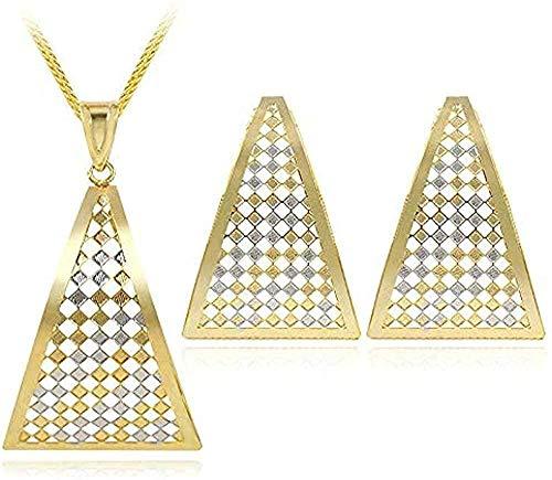 Liuqingzhou Co.,ltd Collar de joyería para Mujer Pendientes Triangulares Grandes Colgante Collar joyería s ahuecada para Fiesta Boda Collar de Longitud 45Cm