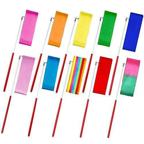 Gobesty Gymnastic Ribbon, Gymnastik-Tanz-Band 10 Stücke 2 Meter Rhythmische Streamer Tanzen Gymnastikbänder mit Anti-Rutsch-Lange-Stick, Für Kinder Kunst Tänze