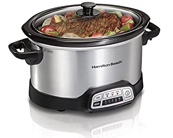 Hamilton Beach 4-Quart Programmable Slow Cooker With Dishwasher-Safe Crock and Lid Silver  33443