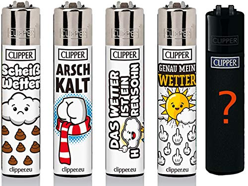 Clipper Original Lighter Flints 4 Set + 1 Überraschungsclipper Feuerzeug All u Need Schlüsselanhänger Flaschenöffner (Slogan #25)